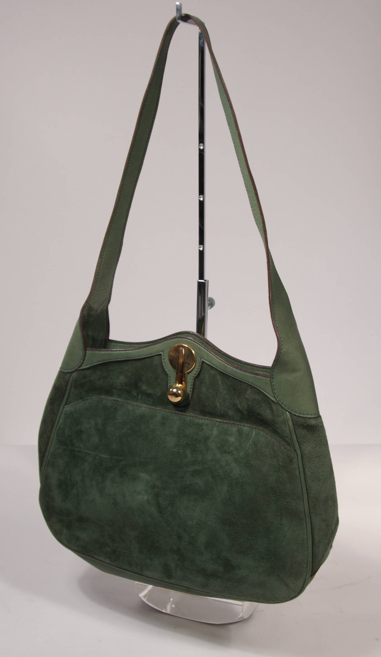 Gucci Green Suede Hobo With Gold Hardware XFzPRT