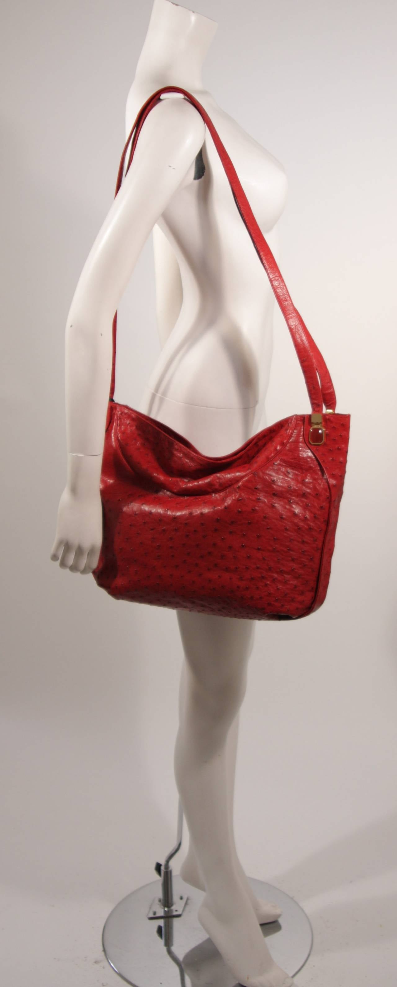 Judith Leiber Extra Large Red Ostrich Purse 3