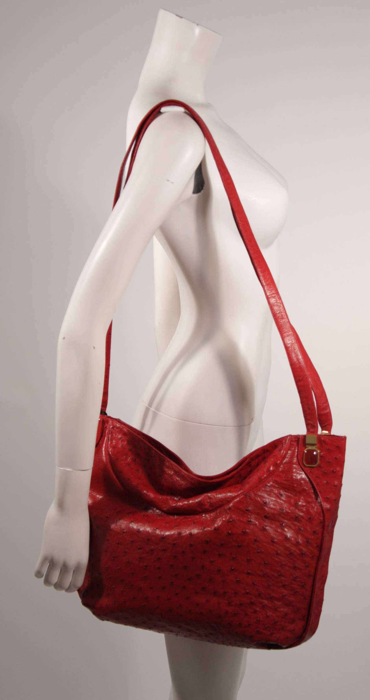 Judith Leiber Extra Large Red Ostrich Purse 4