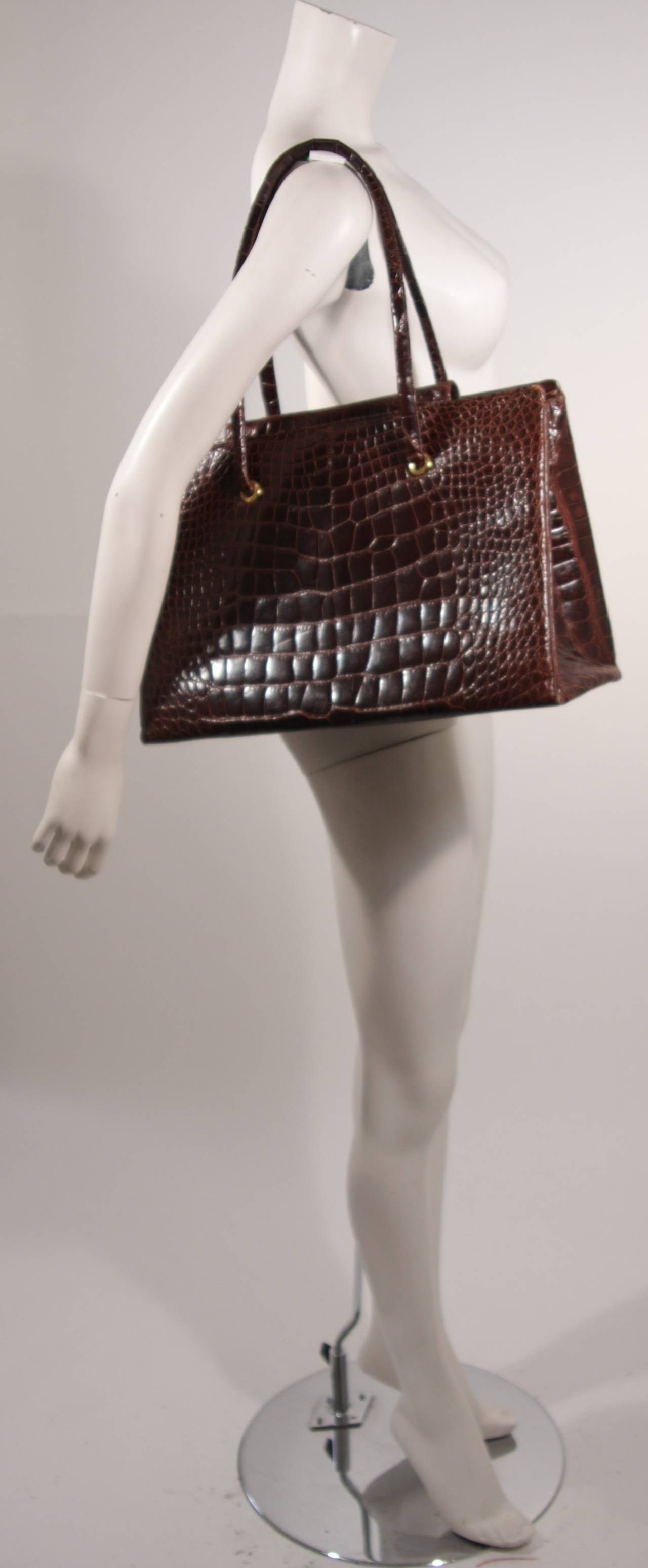 Judith Leiber Extra Large Chocolate Crocodile Shoulder Bag with Snap Top 3
