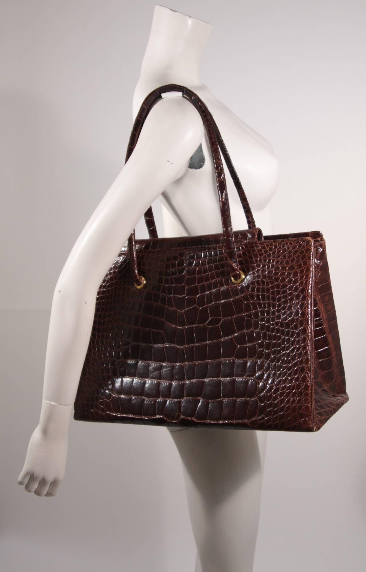 Judith Leiber Extra Large Chocolate Crocodile Shoulder Bag with Snap Top 4