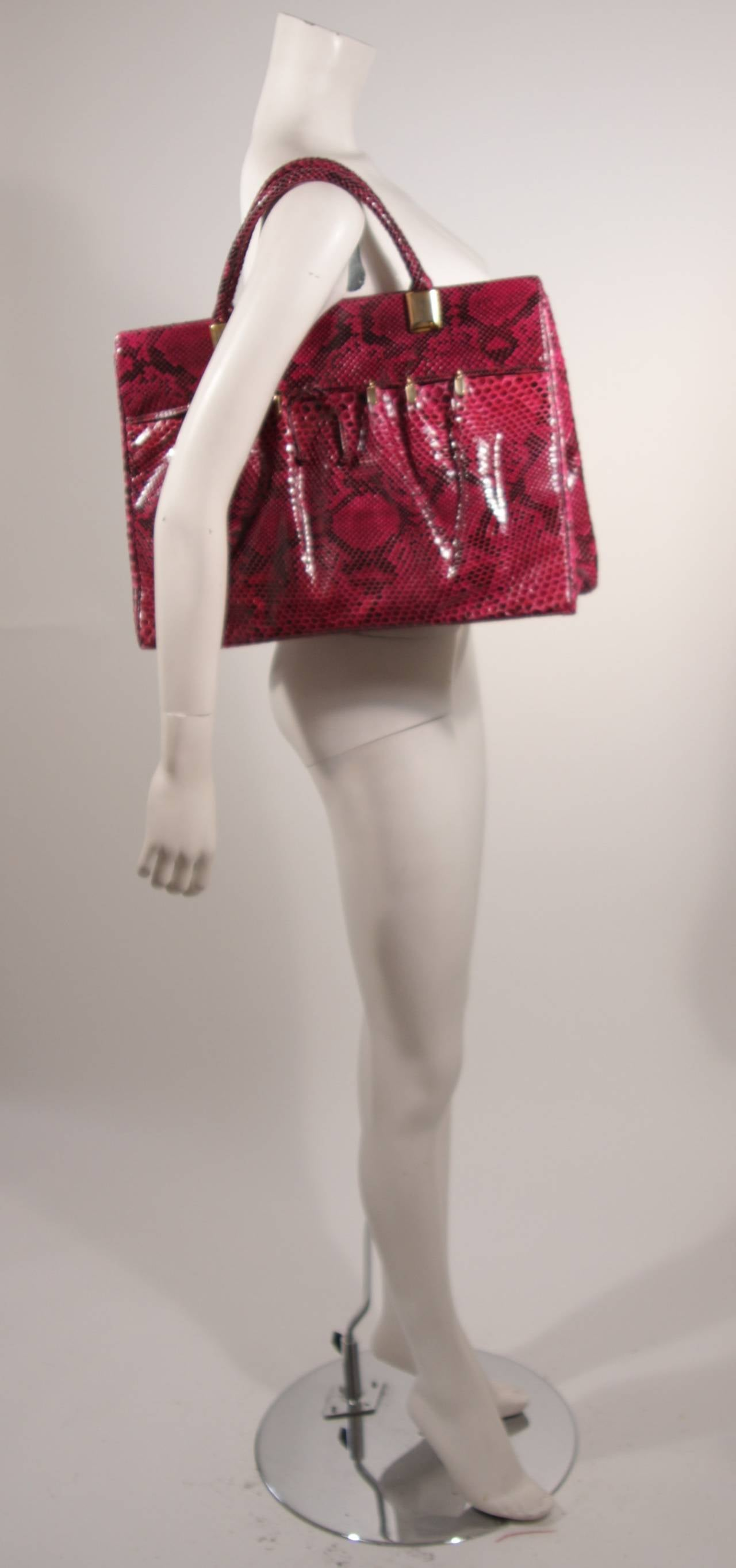 1980's Judith Leiber Extra Large Magenta Snakeskin Tote with Gold Hardware 3