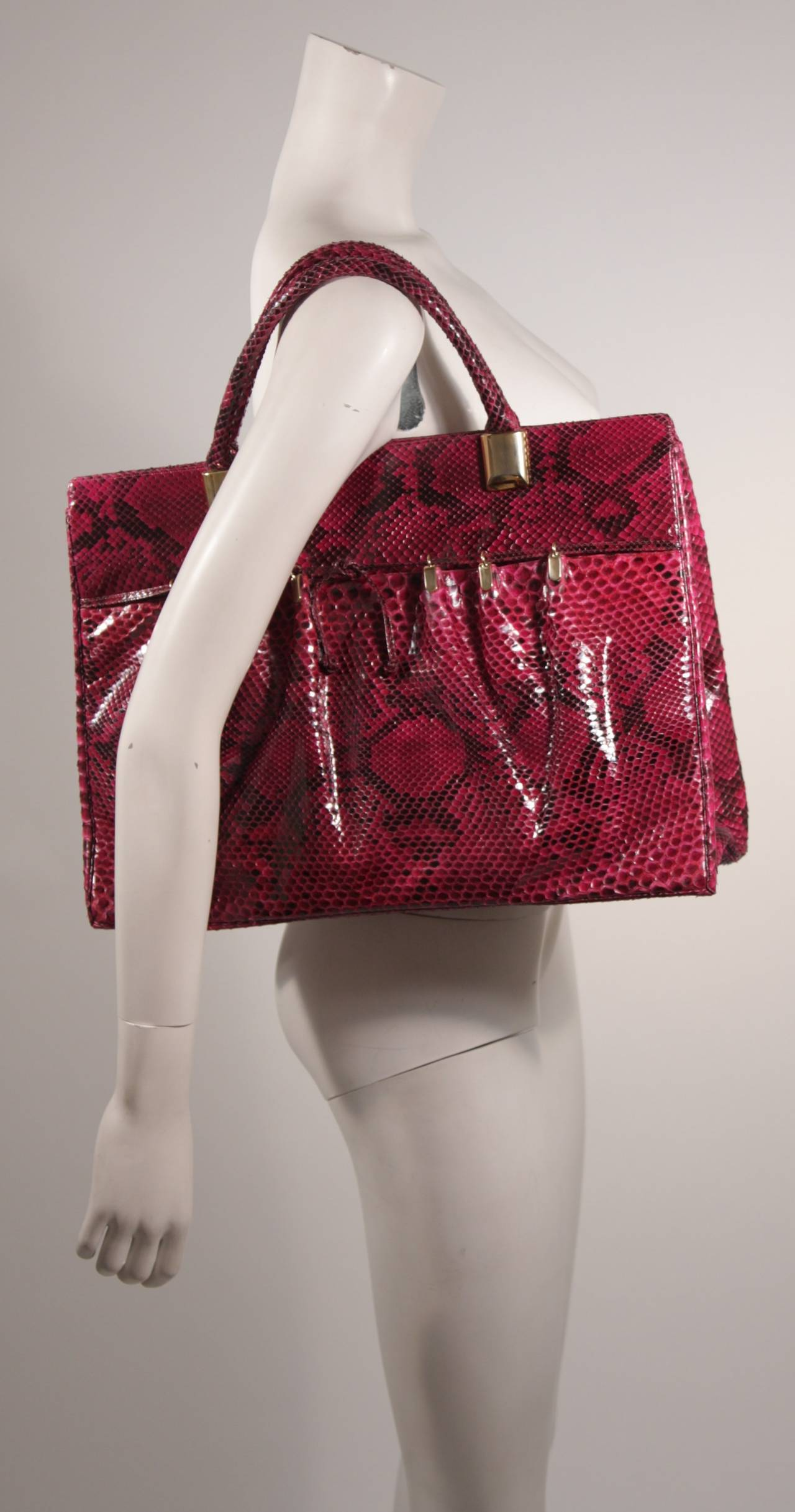 1980's Judith Leiber Extra Large Magenta Snakeskin Tote with Gold Hardware 4