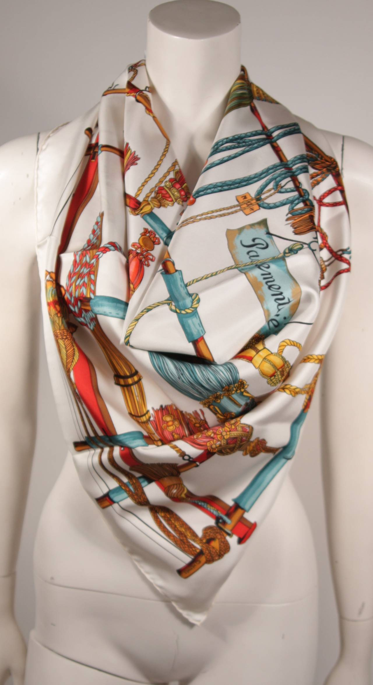 Hermes Passementerie White Silk Scarf with Original Box Francoise Heron 2
