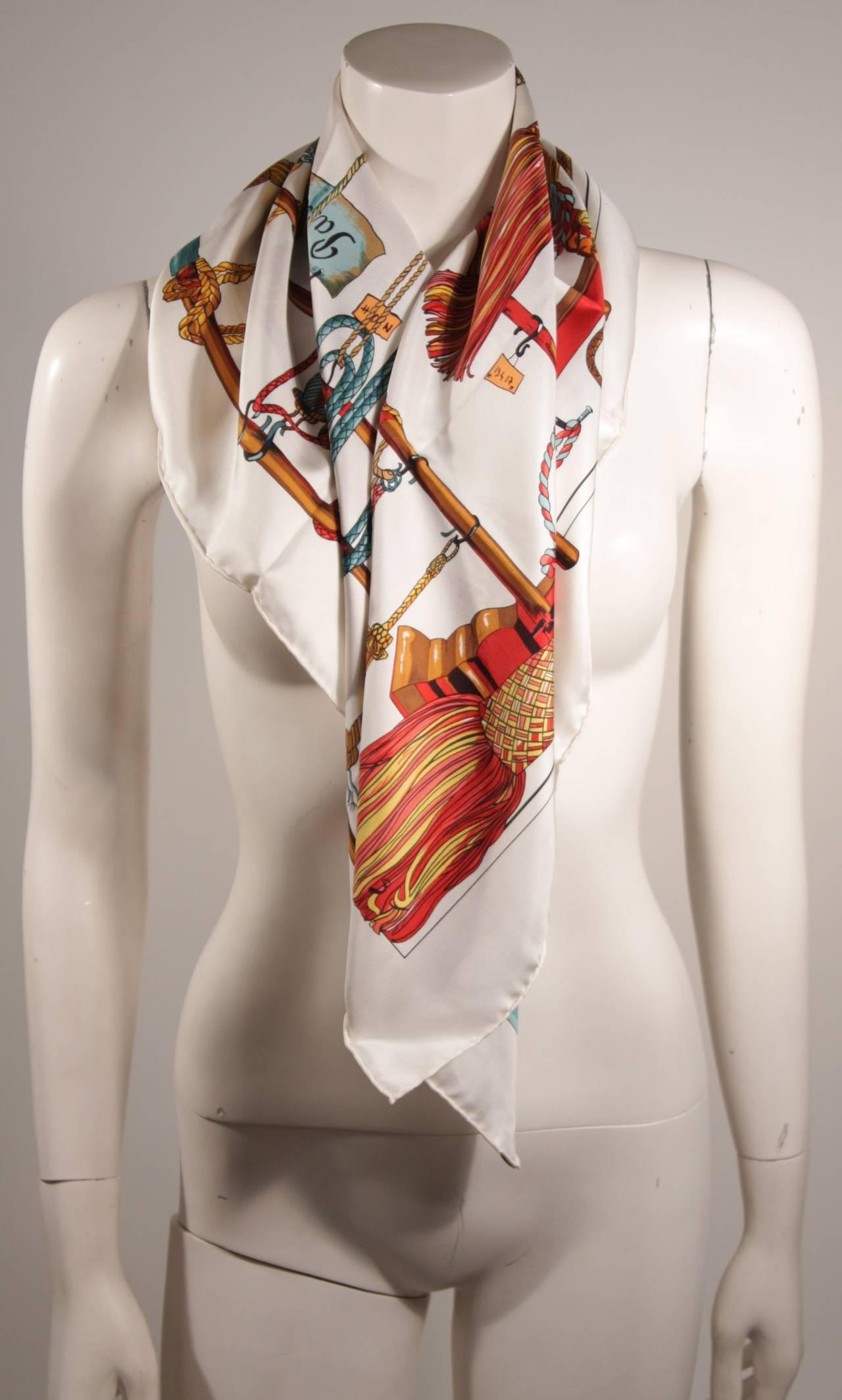 Hermes Passementerie White Silk Scarf with Original Box Francoise Heron 4