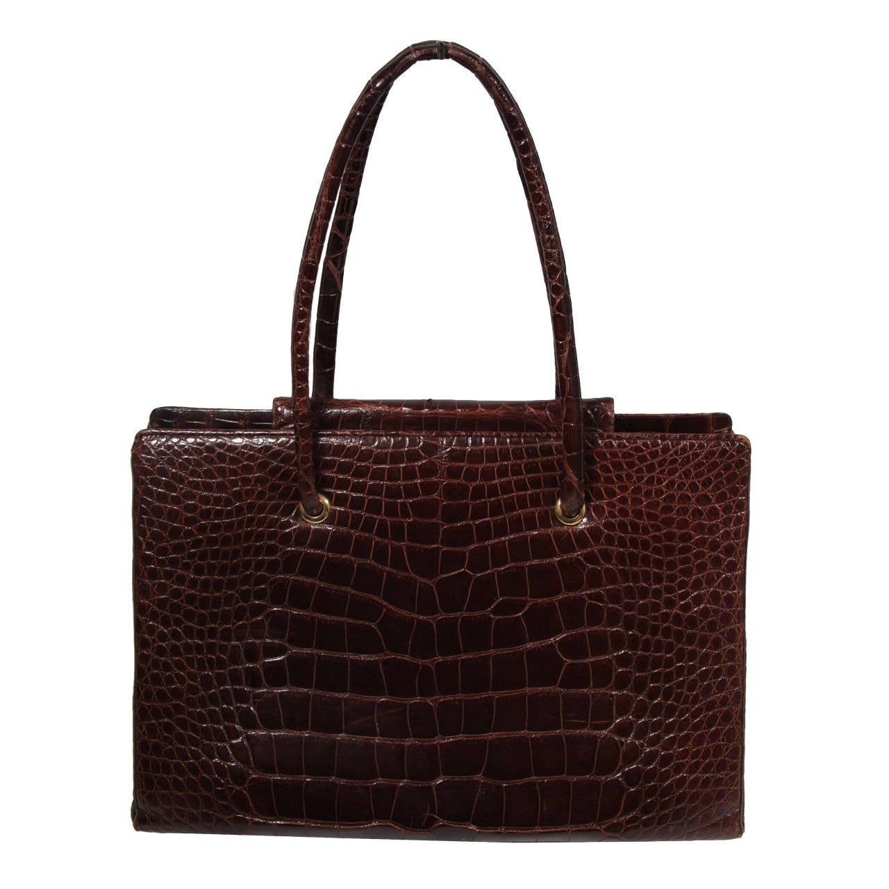 Judith Leiber Extra Large Chocolate Crocodile Shoulder Bag with Snap Top 1