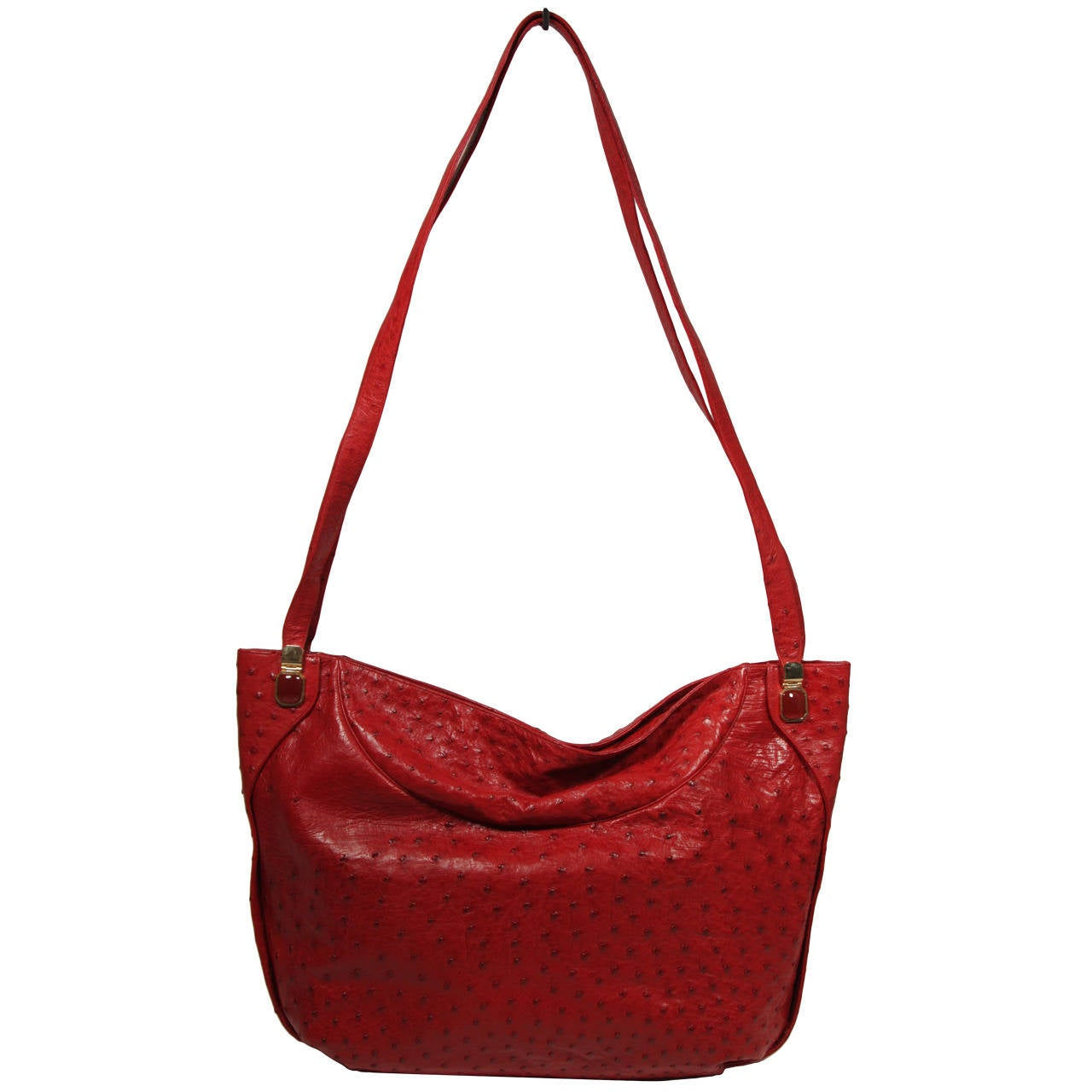 Judith Leiber Extra Large Red Ostrich Purse 1
