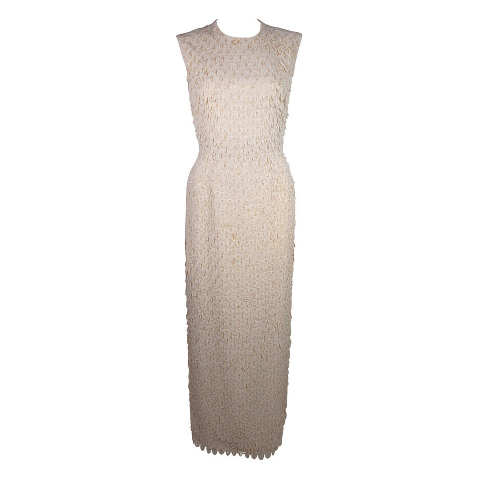 1960's Heavily Beaded Off White Cream Gown