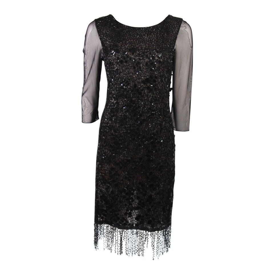 Oscar De La Renta Black Sequin Cocktail Dress Size 12