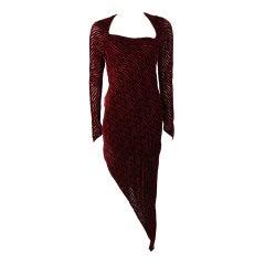 Karl Lagerfield Burgundy Velvet Burn Out Gown Size 38