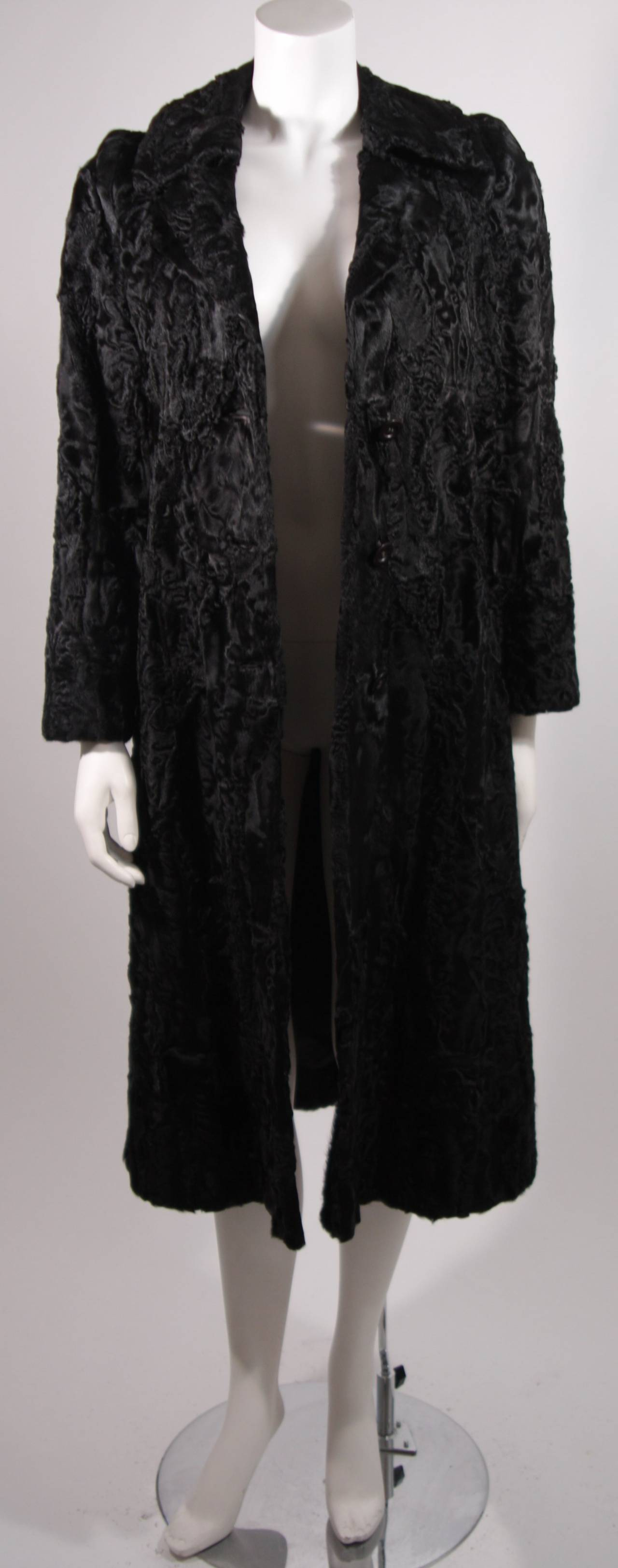 Donald Brooks Black Russian Broadtail Coat with Belt For Sale 5