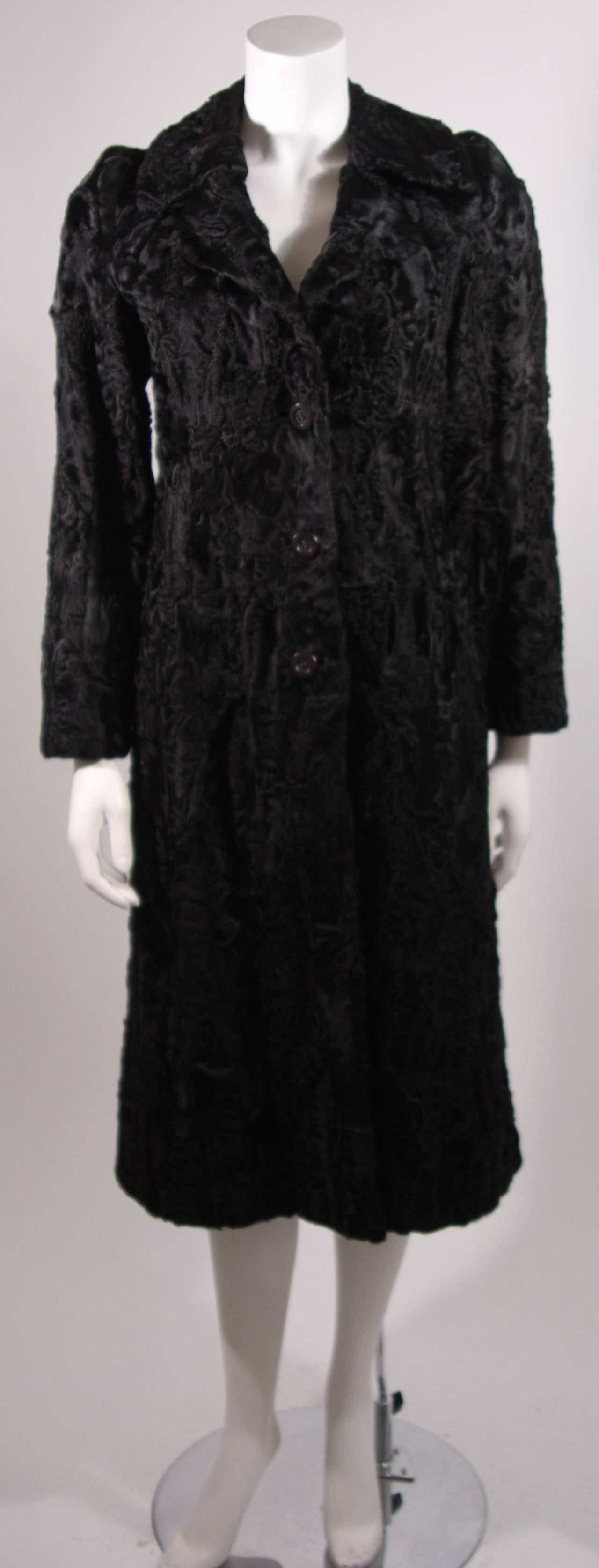 Donald Brooks Black Russian Broadtail Coat with Belt For Sale 4