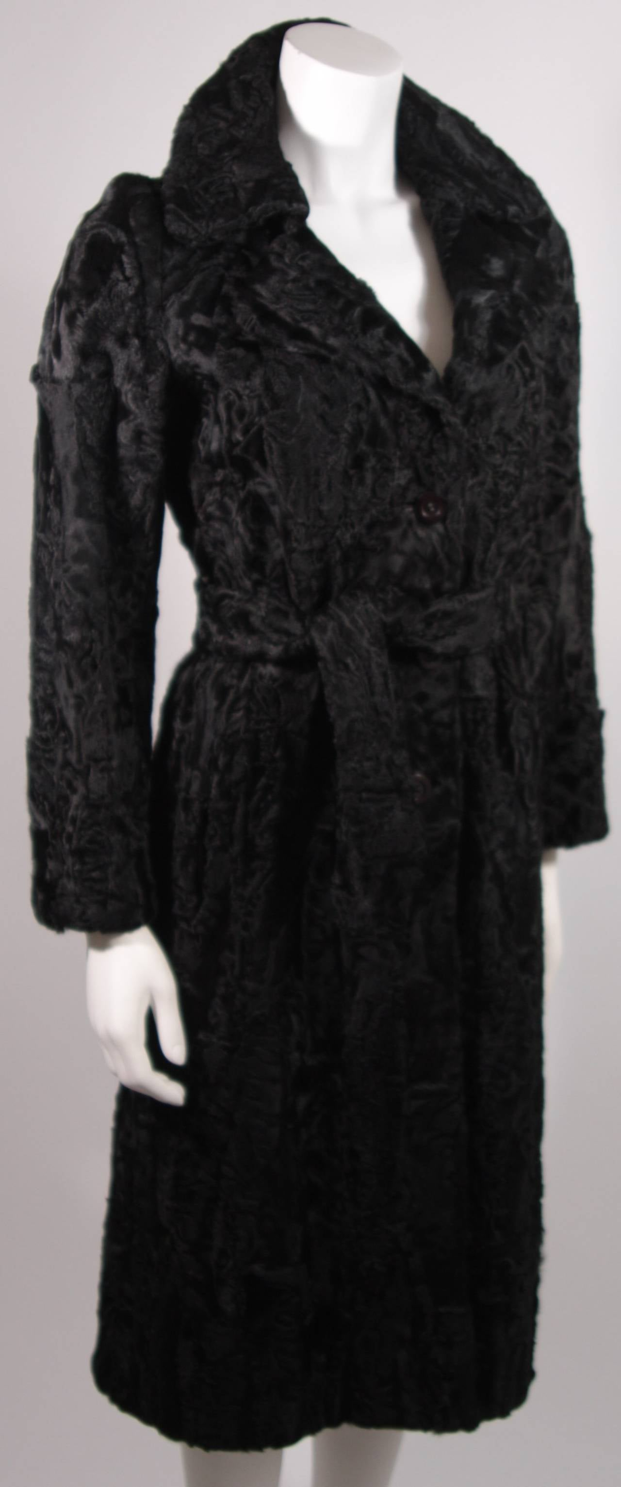 Donald Brooks Black Russian Broadtail Coat with Belt In Excellent Condition For Sale In Los Angeles, CA