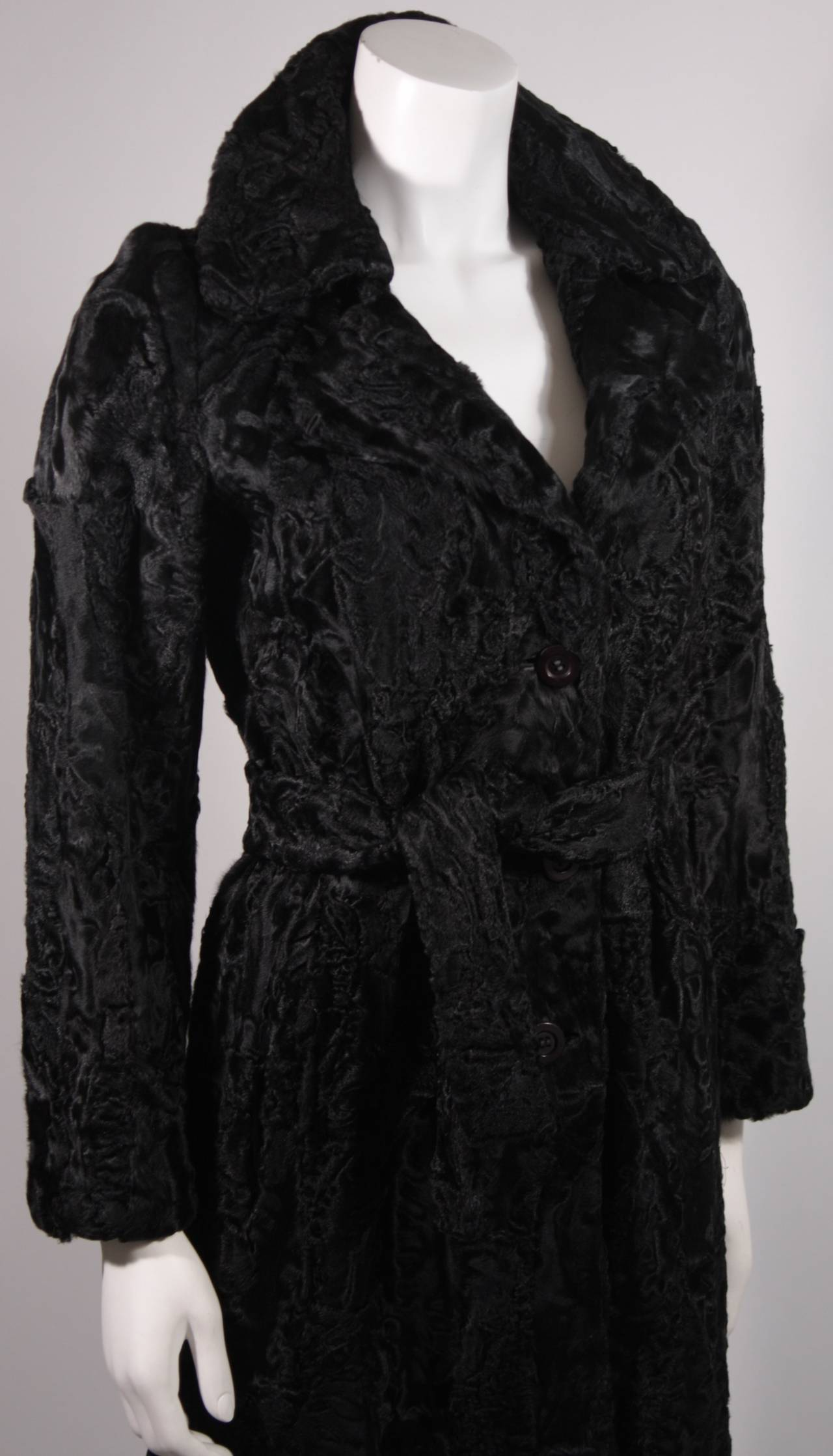 Women's Donald Brooks Black Russian Broadtail Coat with Belt For Sale