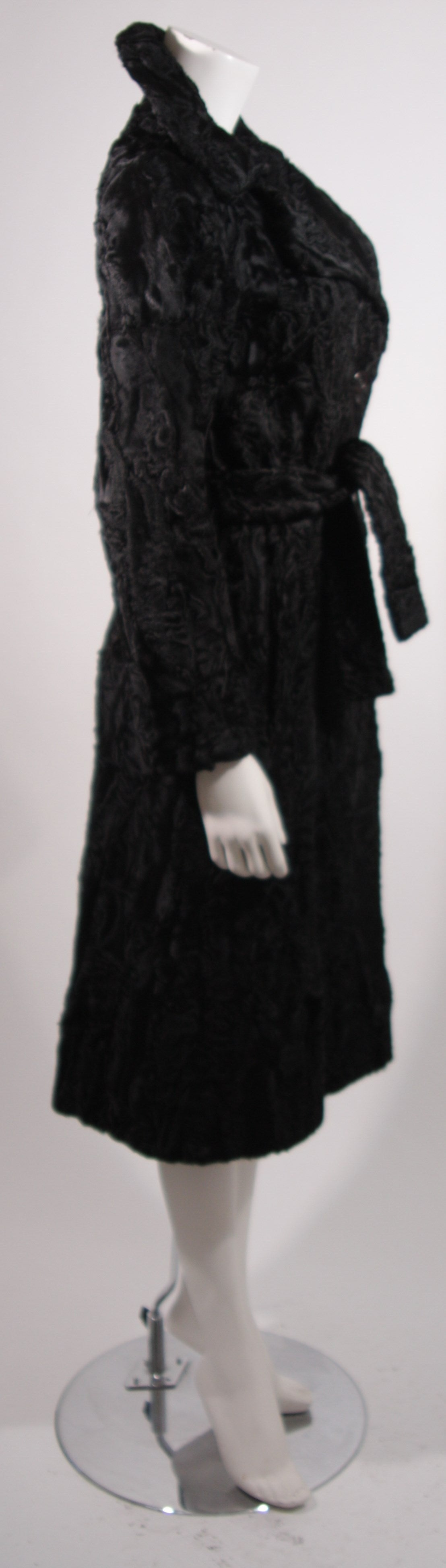 Donald Brooks Black Russian Broadtail Coat with Belt For Sale 1