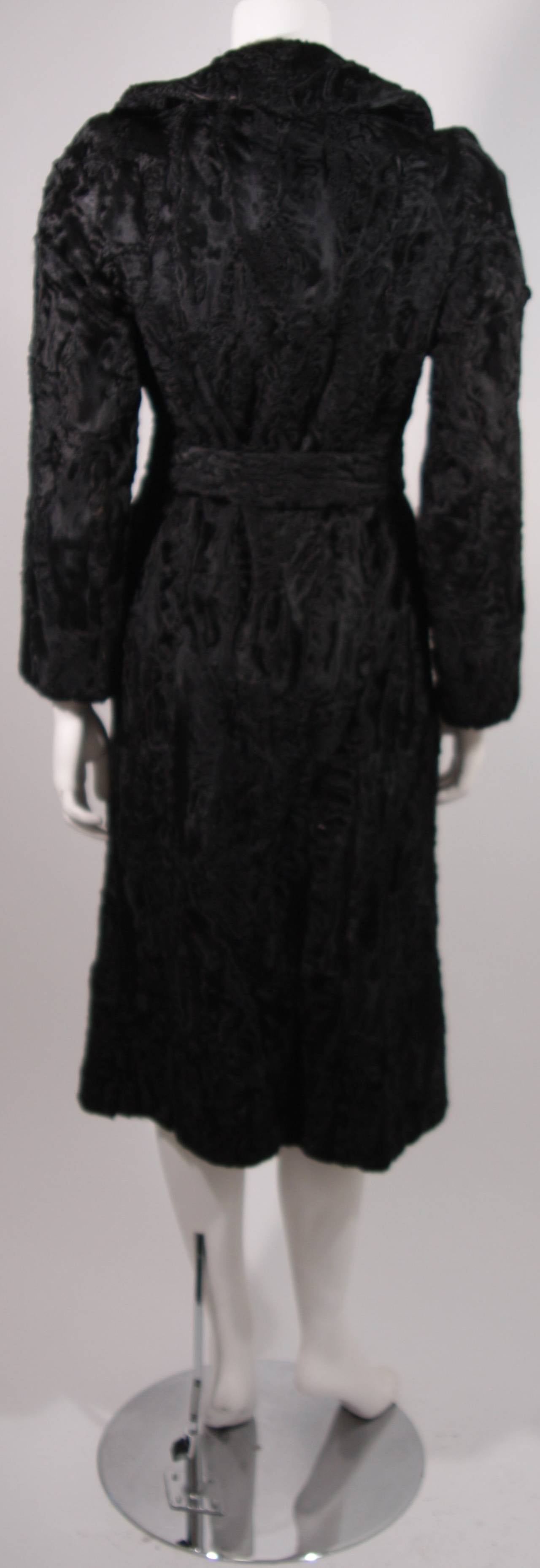 Donald Brooks Black Russian Broadtail Coat with Belt For Sale 2
