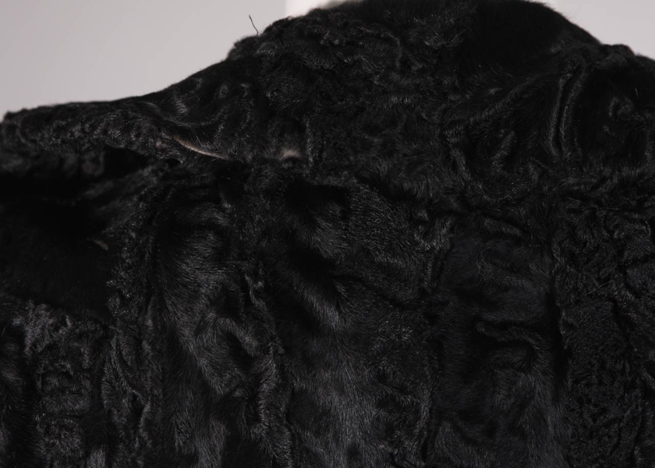 Donald Brooks Black Russian Broadtail Coat with Belt For Sale 3