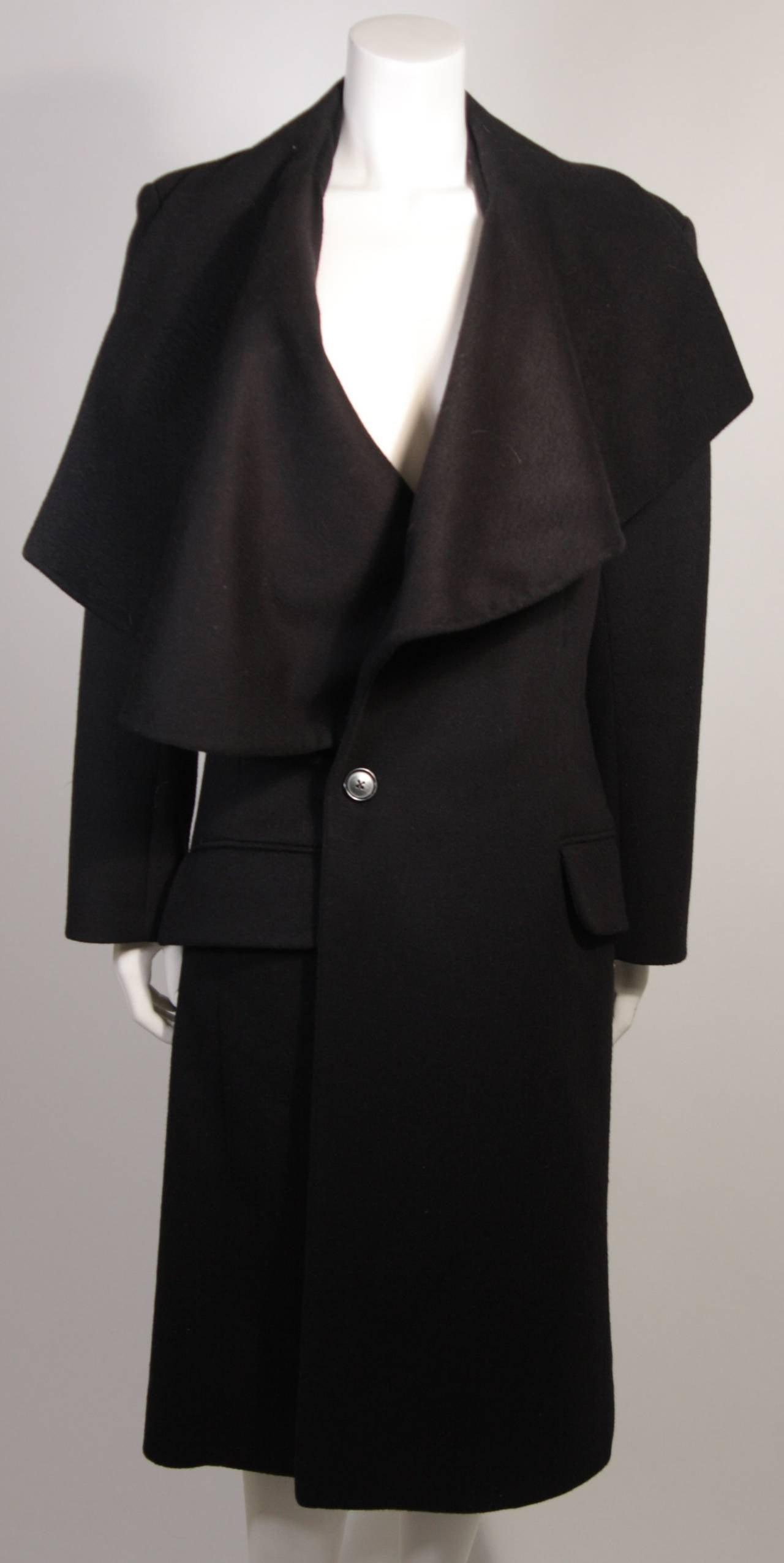 Black John Galliano Over-Sized Asymmetrical Collar Coat Size 10 42 For Sale