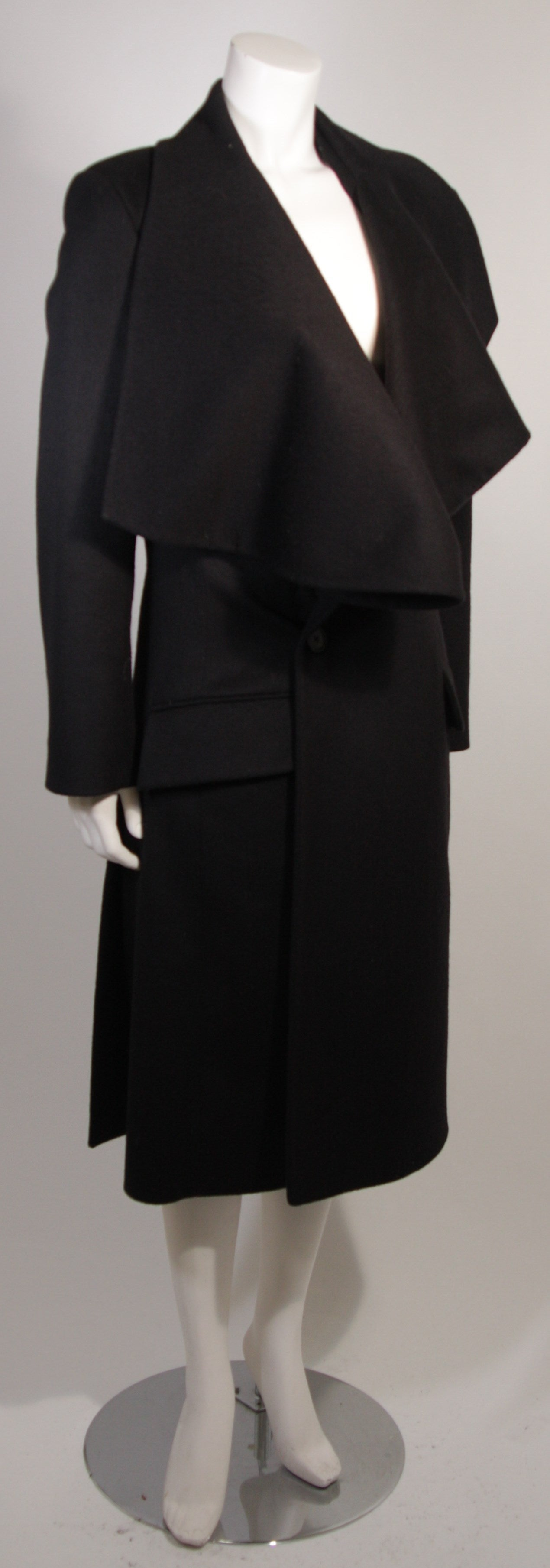 John Galliano Over-Sized Asymmetrical Collar Coat Size 10 42 For Sale 1