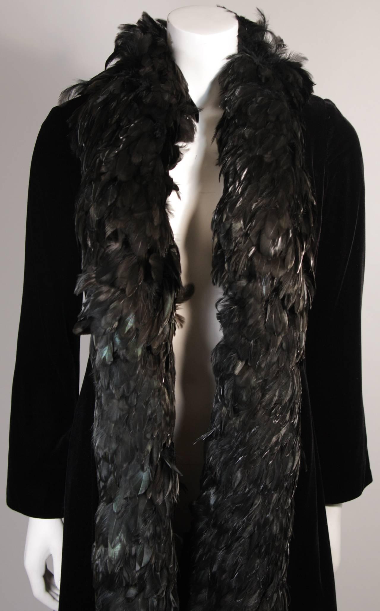Black Velvet Feather Trim Coat Size 8 Victoria Royal For Sale