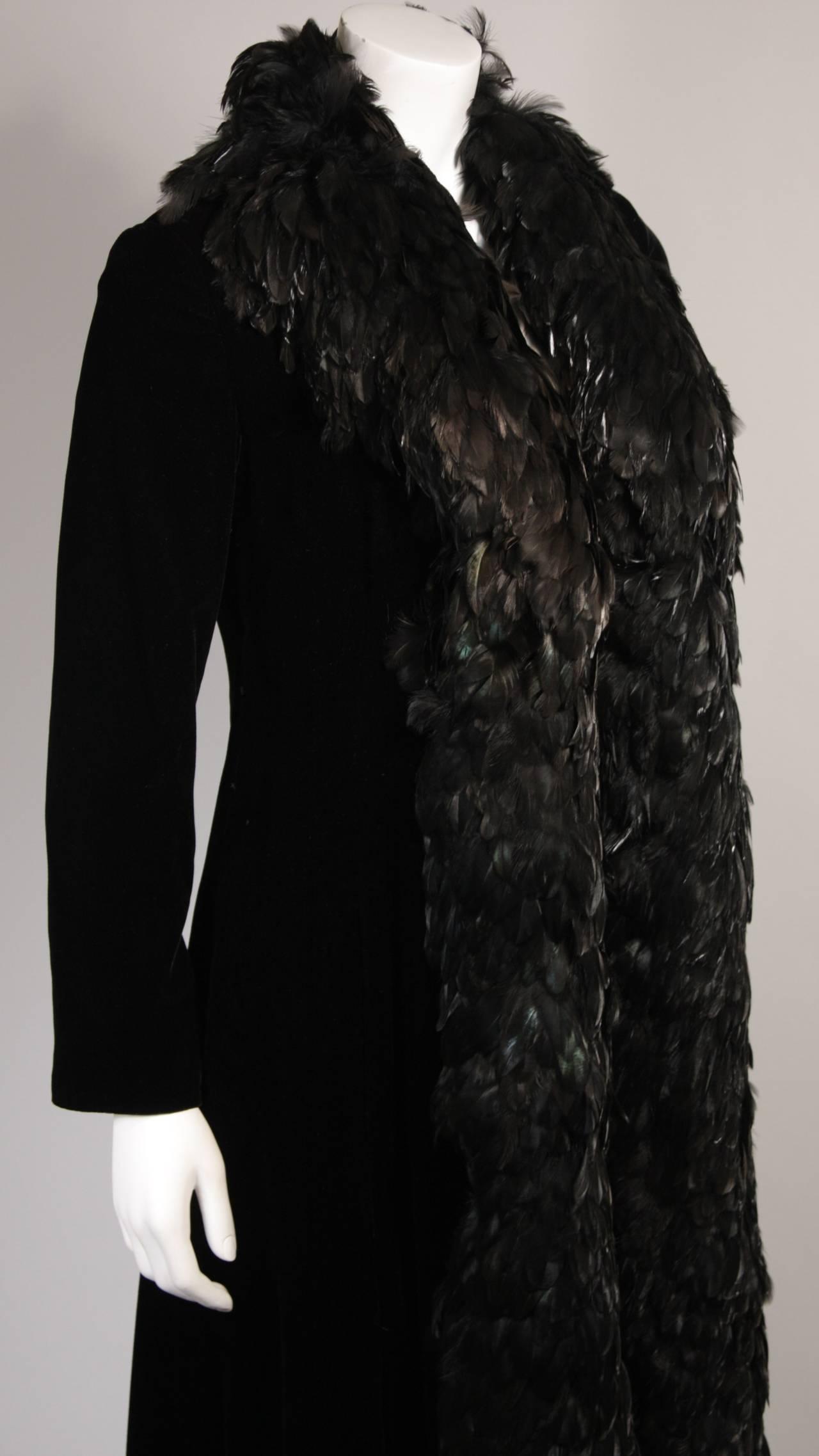 Women's Velvet Feather Trim Coat Size 8 Victoria Royal For Sale