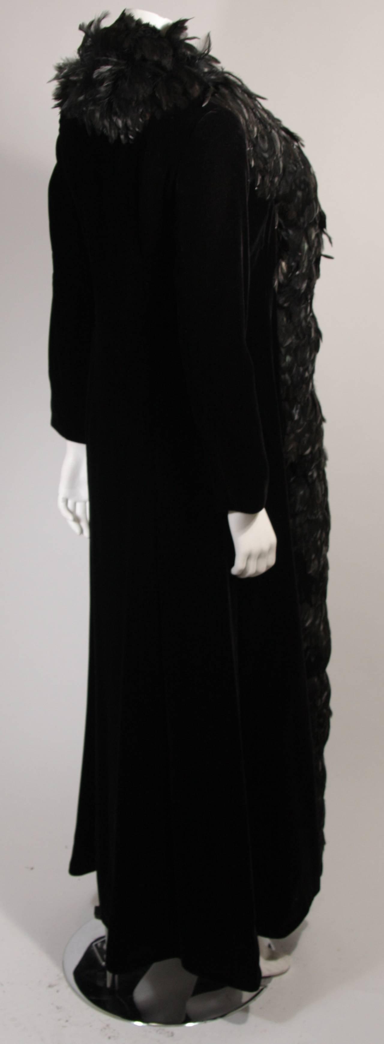 Velvet Feather Trim Coat Size 8 Victoria Royal For Sale 2