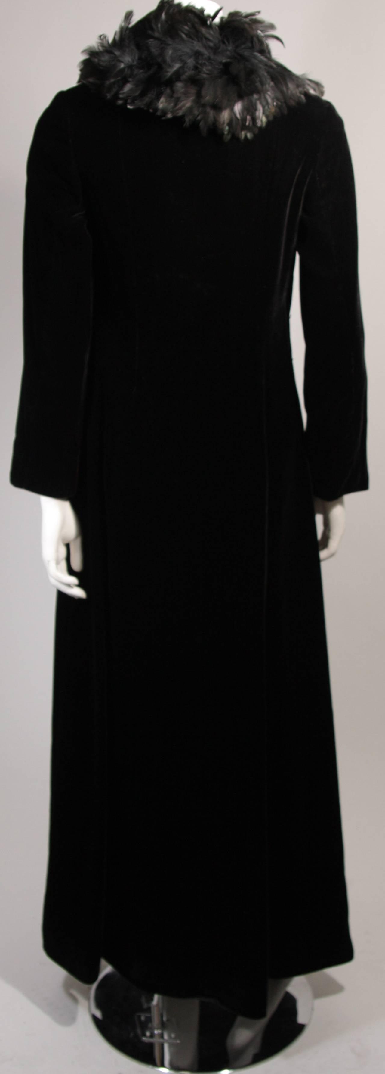 Velvet Feather Trim Coat Size 8 Victoria Royal For Sale 3