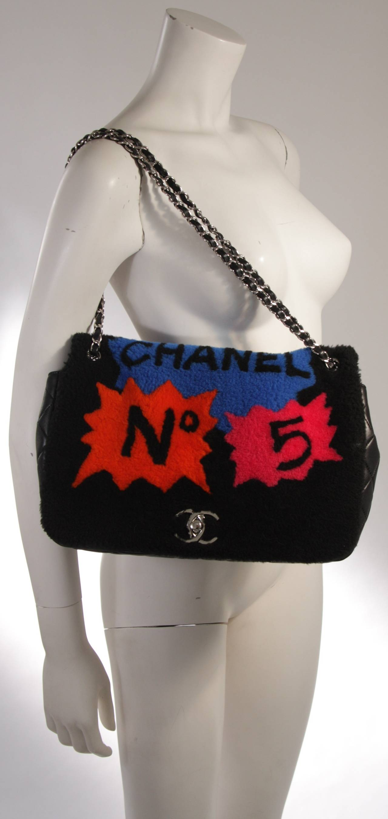 Chanel Shearling Art Pop Large Purse with Quilted Lambskin Fall 2014 For Sale 5