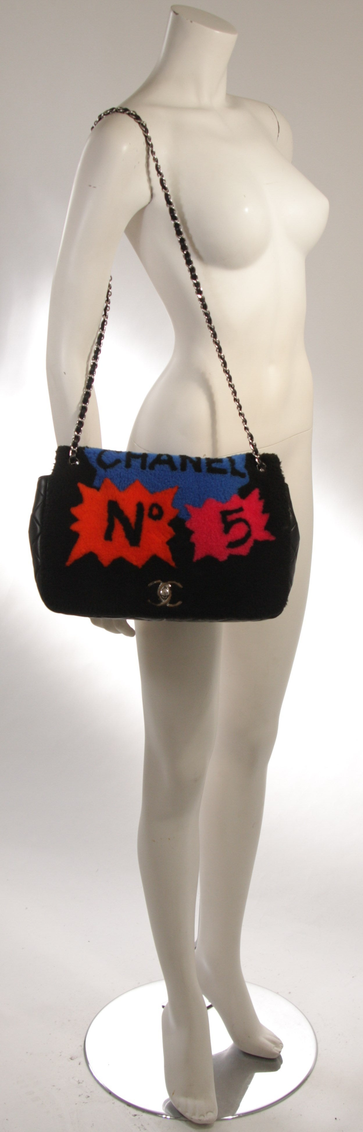 Chanel Shearling Art Pop Large Purse with Quilted Lambskin Fall 2014 For Sale 6