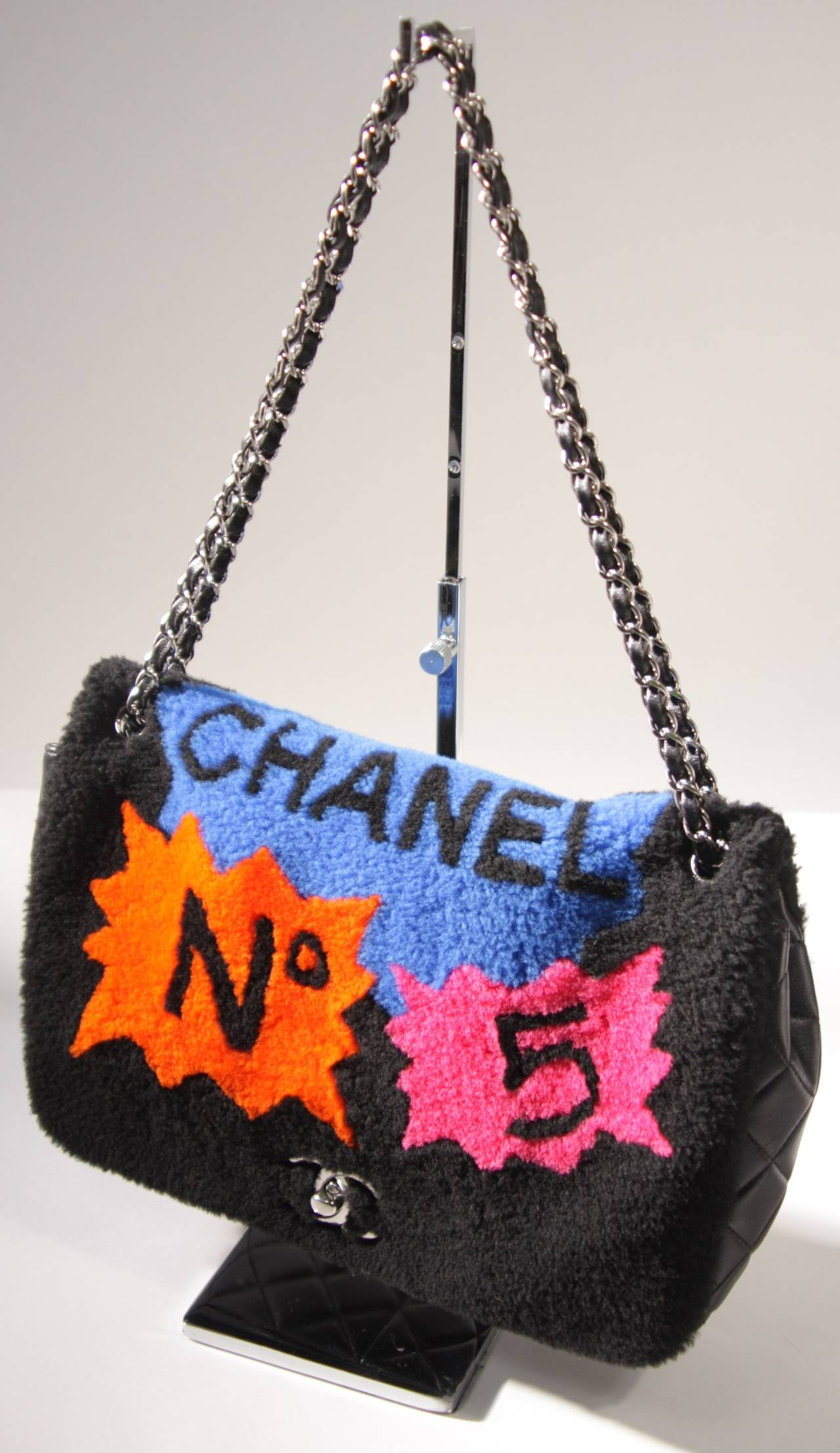 Chanel Shearling Art Pop Large Purse With Quilted Lambskin