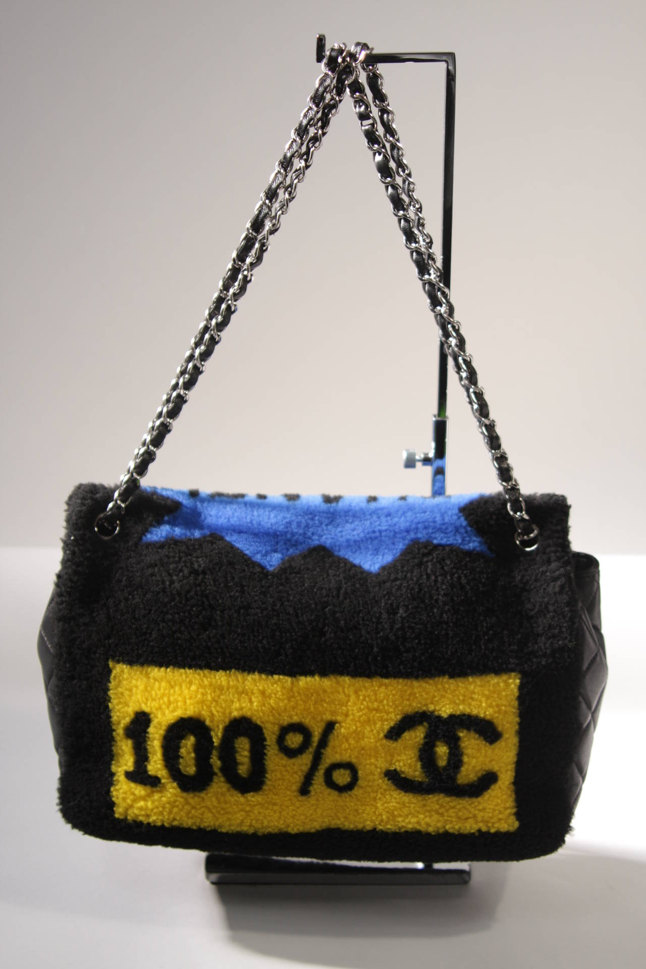 Chanel Shearling Art Pop Large Purse with Quilted Lambskin Fall 2014 For Sale 2