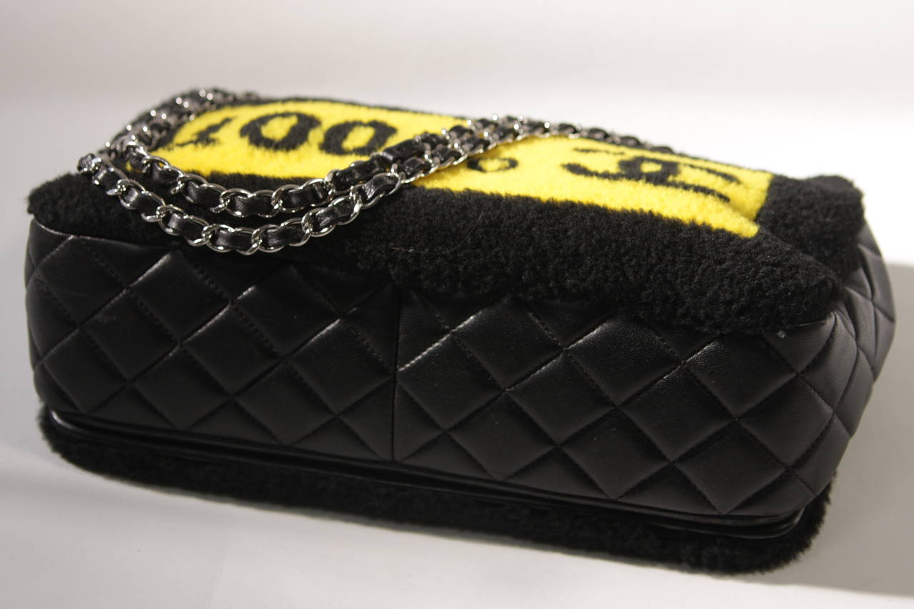 Chanel Shearling Art Pop Large Purse with Quilted Lambskin Fall 2014 For Sale 3