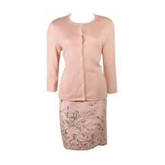 Oscar De La Renta Pink Floral Embroidered Skirt and Cardigan Set Size Large