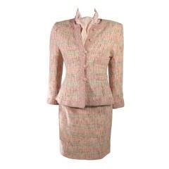 Oscar De La Renta 4 Piece Skirt Suit with Silk Blouse and Scarf Size S