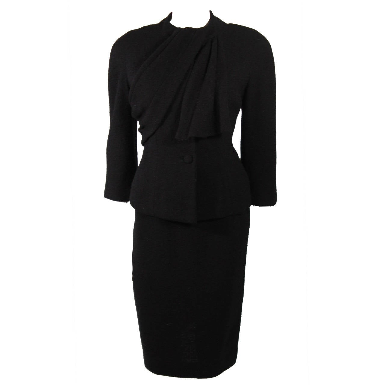 Lilli Ann San Francisco Black Wool Skirt Suit with Draping