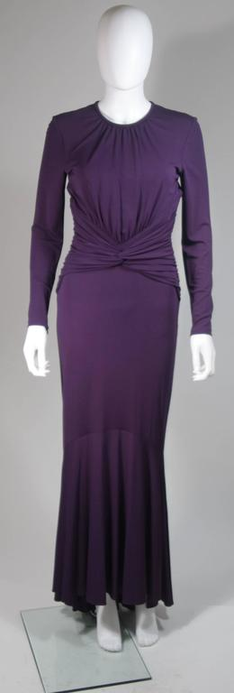 MICHAEL KORS Purple Stretch Jersey Draped Gown with Open Back Size 10 2