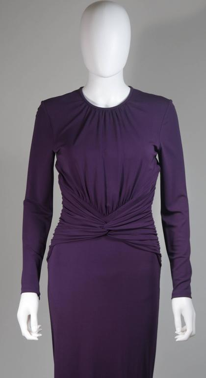 MICHAEL KORS Purple Stretch Jersey Draped Gown with Open Back Size 10 3