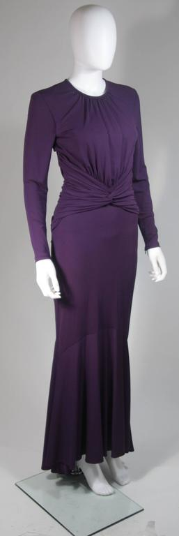 MICHAEL KORS Purple Stretch Jersey Draped Gown with Open Back Size 10 4