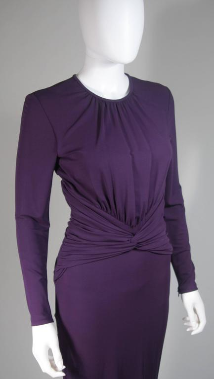 MICHAEL KORS Purple Stretch Jersey Draped Gown with Open Back Size 10 5