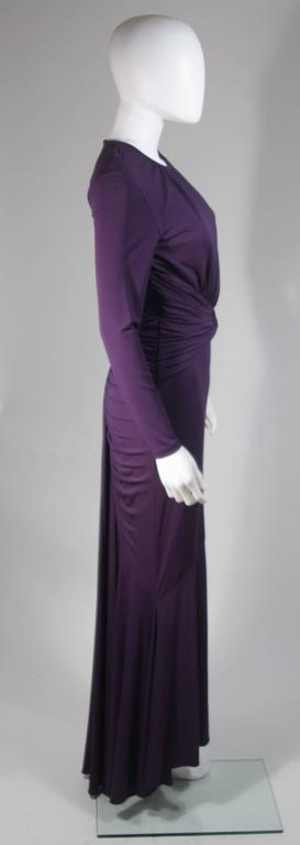 MICHAEL KORS Purple Stretch Jersey Draped Gown with Open Back Size 10 6