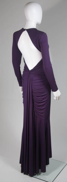 MICHAEL KORS Purple Stretch Jersey Draped Gown with Open Back Size 10 7