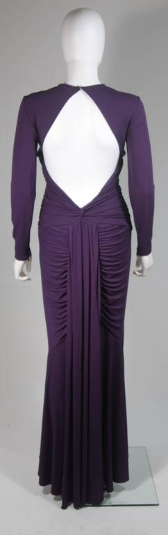 MICHAEL KORS Purple Stretch Jersey Draped Gown with Open Back Size 10 8