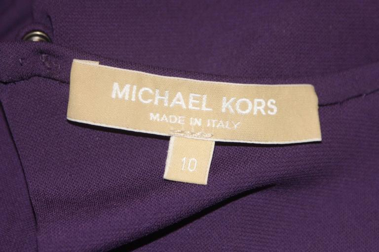 MICHAEL KORS Purple Stretch Jersey Draped Gown with Open Back Size 10 9