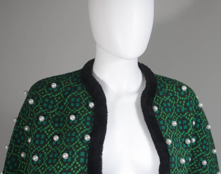 Black Vintage Green Wool Cape with Pearl Embellishments  For Sale
