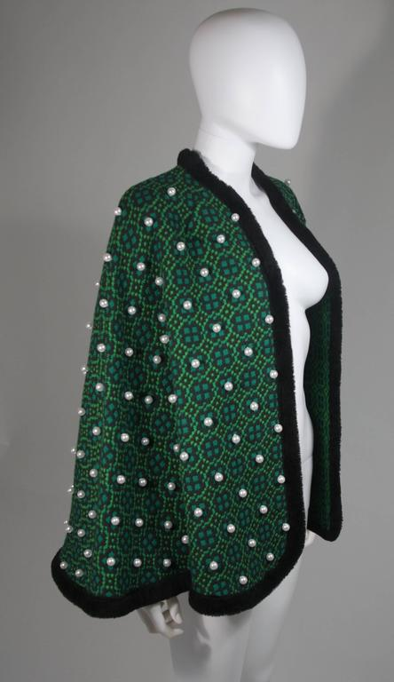 Vintage Green Wool Cape with Pearl Embellishments  In Excellent Condition For Sale In Los Angeles, CA