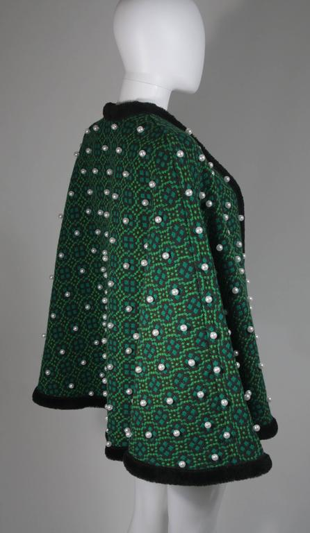 Women's Vintage Green Wool Cape with Pearl Embellishments  For Sale