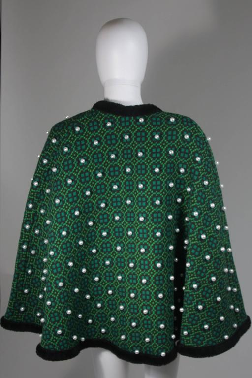 Vintage Green Wool Cape with Pearl Embellishments  For Sale 1