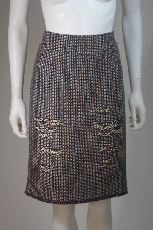 CHANEL Gold Metallic Tweed with Brown and Burgundy Skirt Suit Size 40 9