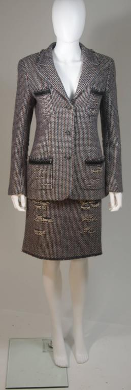 CHANEL Gold Metallic Tweed with Brown and Burgundy Skirt Suit Size 40 2