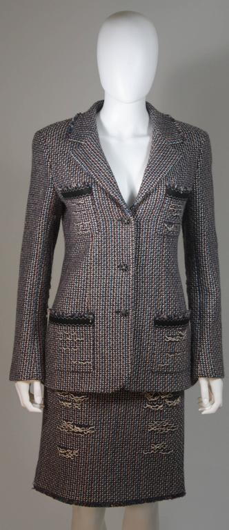 CHANEL Gold Metallic Tweed with Brown and Burgundy Skirt Suit Size 40 3